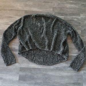 Grey Salt & Pepper Cropped Sweater Long Sleeve